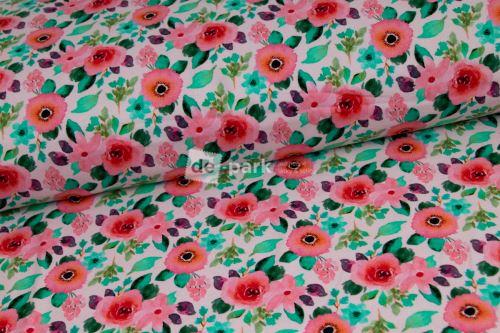 DESIGNED BY DE-PARK - teplákovina Akvarelové květy