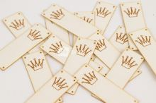 Koženkový štítek - PŘES OKRAJ - KORUNKA - bílá