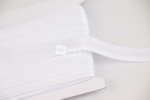 Šikmý proužek - bílý - saténový 1cm