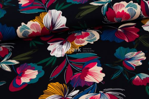 Viskoza - Květy na temně modré