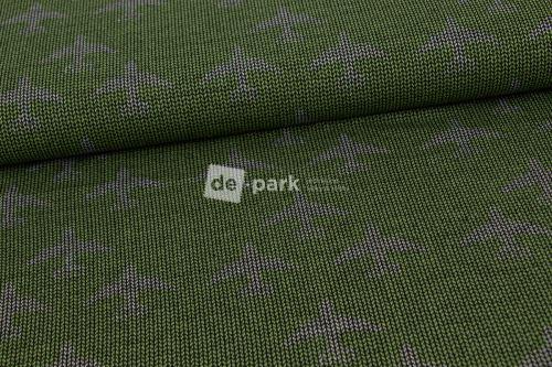 Teplákovina - potlač pleteného nórskeho vzoru - LIETADLÁ NA SVETLE ZELENÉ