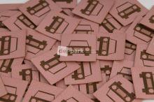 Koženkový štítek - AUTÍČKO - starorůžová