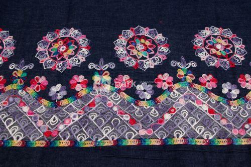 Vyšívaná džínsovina - Farebná výšivka - bordúra