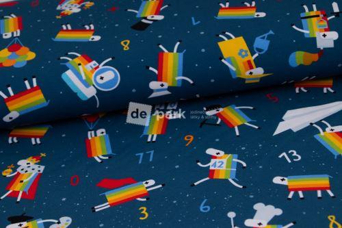 DESIGNED BY DE-PARK - úplet  Ovečky z Déčka - tmavě modrá s hvězdami