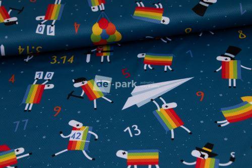 DESIGNED BY DE-PARK - Funkční úplet Coolmax - Ovečky z Déčka - tmavě modrá s hvězdami