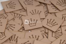 Koženkový štítek - KORUNKA - béžová