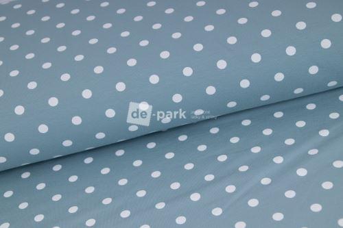 Puntíkatá svetlá džínová modrá teplákovina - 583