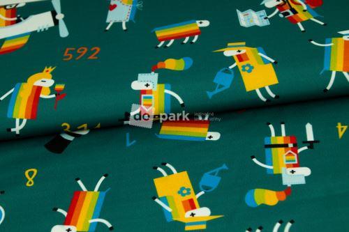 DESIGNED BY DE-PARK -Letní softshell - Ovečky z Déčka - petrol