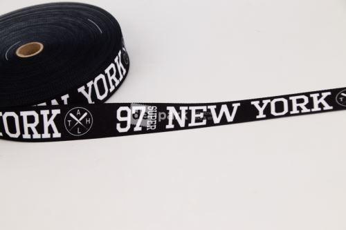 Rypsová stuha - NEW YORK - bílá na černé