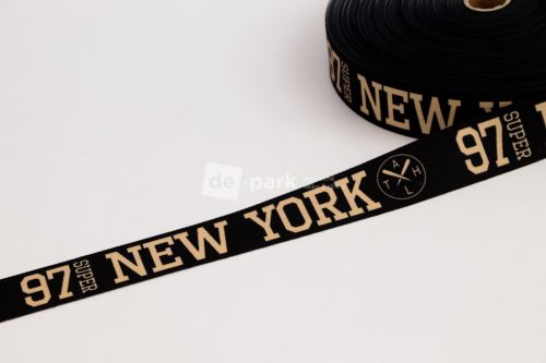 Rypsová stuha - NEW YORK - béžová na černé