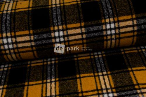 Kabátovina - Kostky - žlutočerná