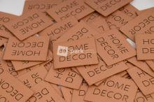 Koženkový štítek - HOME DECOR - měděná