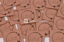 Koženkový štítek - LOVE - měděná