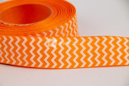 Rypsová stuha - cikcak -  oranžová