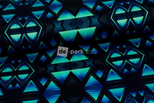 DESIGNED BY DE-PARK - Fitness silver úplet 235g na legíny - Geometrie modromintová