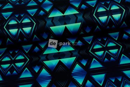 DESIGNED BY DE-PARK - Počesaný funkční úplet - Geometrie modromintová