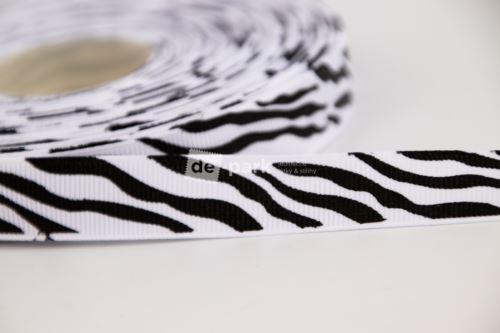Rypsová stuha - zebra 1,5cm