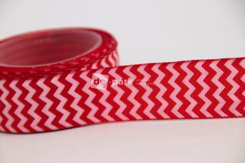Rypsová stuha - cikcak - červená