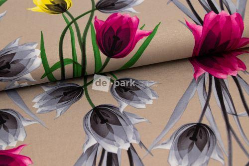 Viskoza - Tulipány - béžové