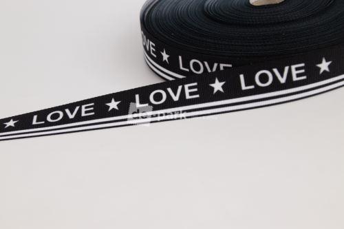 Rypsová stuha - LOVE - bílá na černé