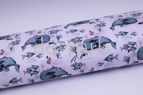 veľryby akvarel