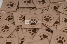 Koženkový štítek - TLAPIČKA - béžová