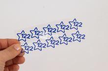Nažehlovací velikostní štítky - vel. 122 - modrá