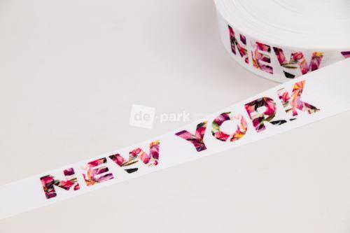 Rypsová stuha - NEW YORK FLOWERS - bílá