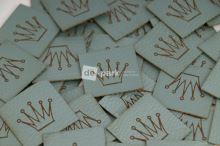 Koženkový štítek - KORUNKA - mint