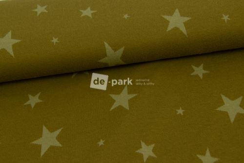 Žakárový úplet - hviezdy khaki zelené