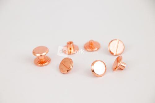 Šroubovací nýtek 1cm - růžové zlato - 4ks