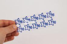 Nažehlovací velikostní štítky - vel. 116 - modrá