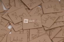 Koženkový štítek - UNIKÁT - béžová
