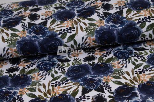 DESIGNED BY DE-PARK - teplákovina Akvarelové modré ruže