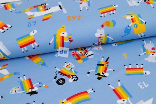 DESIGNED BY DE-PARK - teplákovina Ovečky z Déčka - světlo modrá