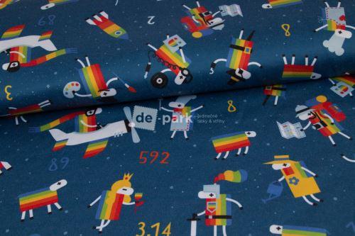 DESIGNED BY DE-PARK - ATLAS SATÉN - Ovečky z Déčka - tmavě modrá s hvězdami