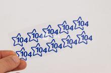 Nažehlovací velikostní štítky - vel. 104 - modrá