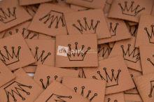 Koženkový štítek - KORUNKA - měděná