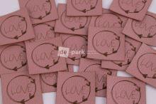 Koženkový štítek - LOVE - starorůžová