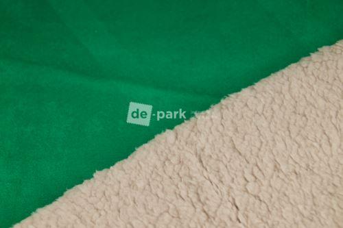 Umělá broušená kůže s beránkem - trávově zelená