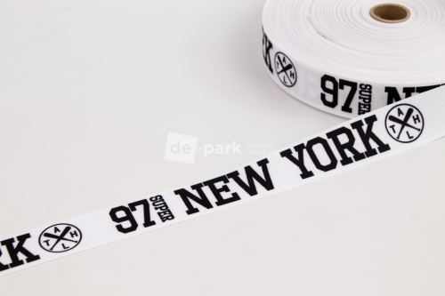 Rypsová stuha - NEW YORK - černá na bílé