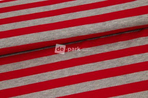 Viskózové prúžok - červená / šedá