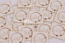 Koženkový štítek - LOVE - bílá