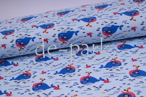 Teplákovina - Velryba - světle  modrá