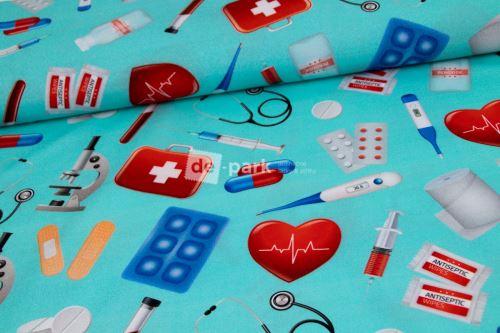DESIGNED BY DE-PARK - Bavlněné plátno - Lékaři a sestřičky mint