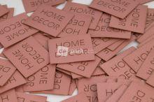 Koženkový štítek - HOME DECOR - starorůžová