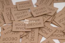 Koženkový štítek - HOME DECOR - béžová