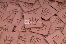 Koženkový štítek - KORUNKA - starorůžová