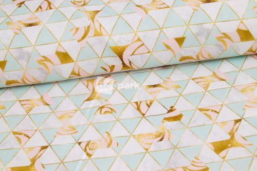 Trojuholníky so zlatou - vodeodolná tkanina