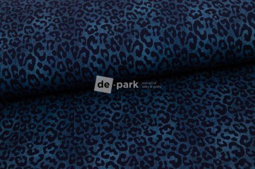Úplet - Jeans efekt - tmavší modrošedá - gepard